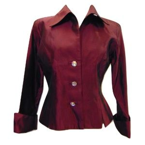 JS Collections evening top jacket wine Sz 10